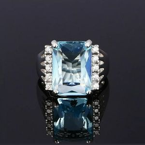 New arrival silver s925 created blue topaz ring
